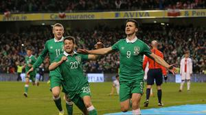 Republic of Ireland's Shane Long, right, netted the equaliser