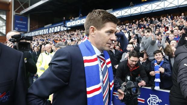 Steven Gerrard was introduced to the Rangers supporters