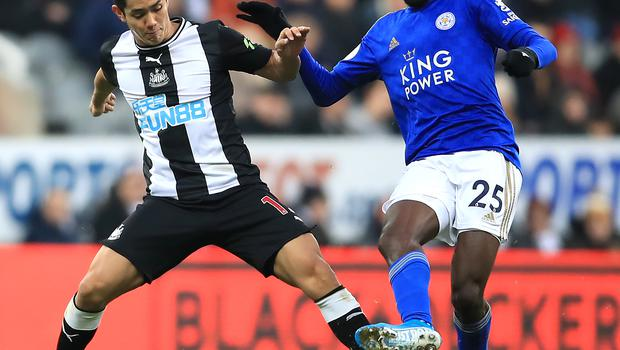Wilfred Ndidi (pictured battling with Newcastle's Yoshinori Muto) is fit to play in Leciester's Carabao Cup semi-final second leg against Aston Villa (Owen Humphreys/PA Images).