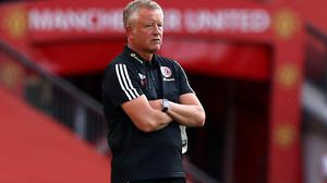 Sheffield United manager Chris Wilder on the touchline during the Premier League match at Old Trafford, Manchester.