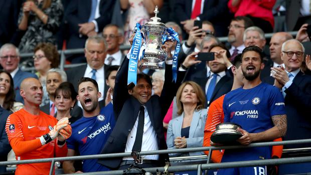 Chelsea's manager Antonio Conte with the FA Cup