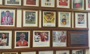 Gareth Bale pictured on Whitchurch High School's Wall of Fame with fellow alumni Geraint Thomas and Sam Warburton (Phil Blanche/PA)