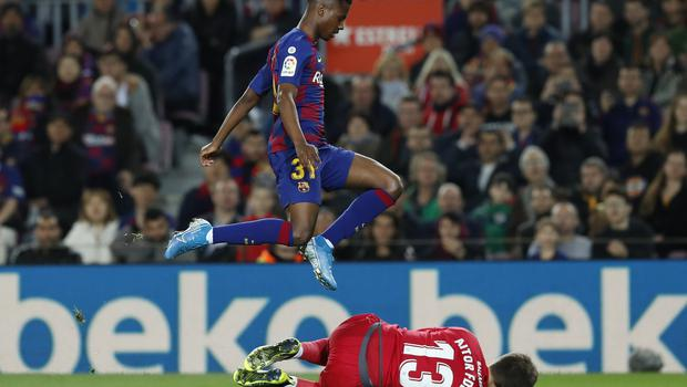 Ansu Fati was flying high at the Nou Camp on Sunday night (Joan Monfort/AP)