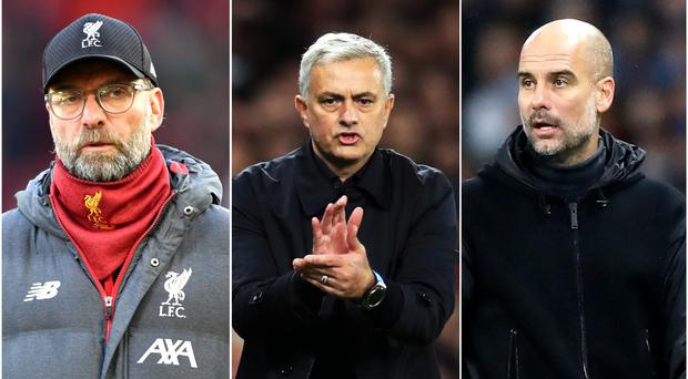 The managers of Liverpool, Tottenham and Manchester City will learn their Champions League opponents on Monday (PA)