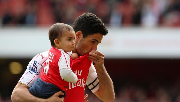 Mikel Arteta ended his playing days at Arsenal before joining the coaching staff at Manchester City. (Scott Heavey/PA)