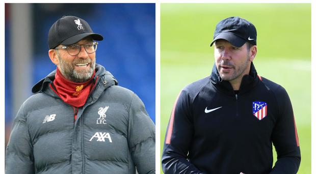 Jurgen Klopp's Liverpool will face Diego Simeone's Atletico Madrid in the Champions League round of 16 (PA)