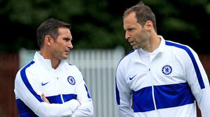 Chelsea manager Frank Lampard, left, has praised Petr Cech (PA)