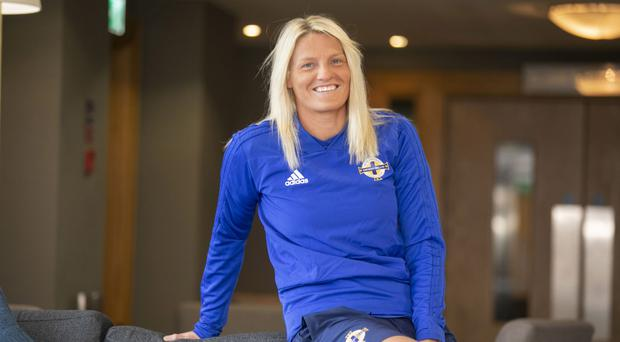 Milestone moment: Ashley Hutton marked her 100th NI appearance with a goal against Wales