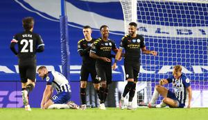 Manchester City secured second place in the Premier League with a 5-0 win at Brighton on Saturday (Catherine Ivill/NMC Pool)