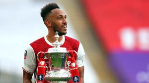 Pierre-Emerick Aubameyang struck twice as Arsenal came from behind to lift the FA Cup (Catherine Ivill/PA)