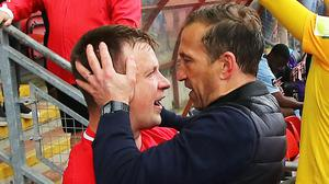Leyton Orient defender Josh Coulson, left, was a key figure for Justin Edinburgh when he guided O's to promotion in 2019 (Mark Kerton/PA)