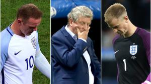 Wayne Rooney, Roy Hodgson and Joe Hart react to England's shock Euro 2016 exit at the hands of Iceland (PA)