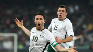 Robbie Keane, pictured left, scored against Italy in Bari in 2009