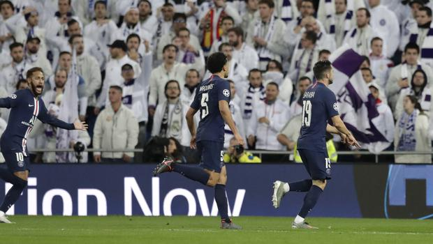 Pablo Sarabia came off the bench to score a dramatic late equaliser at the Bernabeu (Bernat Armangue/AP)