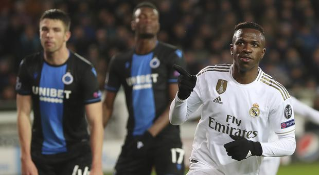 Vinicius was on target as Real Madrid saw off Brugge in Belgium (Francisco Seco/AP)