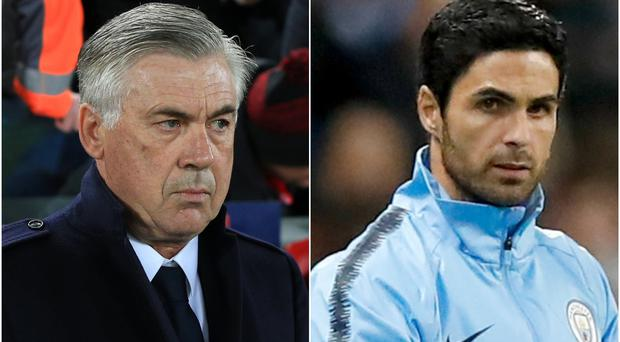 Carlo Ancelotti and Mikel Arteta have been linked with Arsenal (Peter Byrne/Martin Rickett/PA)
