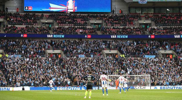 Empty seats were visible at Manchester City's FA Cup semi-final against Brighton (Nick Potts/PA)
