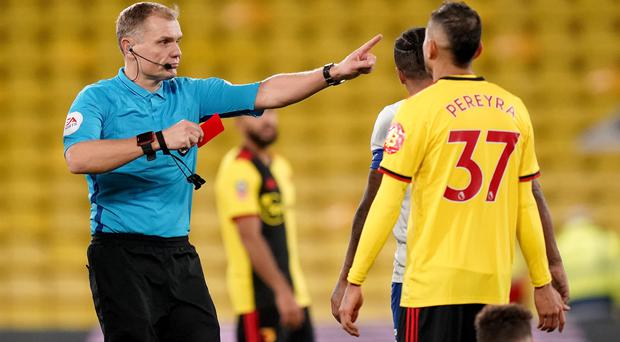 Roberto Pereyra was sent off late on in Watford's FA Cup draw with Tranmere. (John Walton/PA)