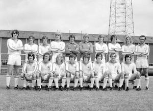 Leeds squad, including Trevor Cherry (back row, third from left) ahead of the 1977-78 season (PA)