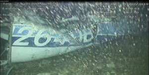 A still image from video of the wreckage of the aircraft which had carried Emiliano Sala (Air Accidents Investigation Branch/Handout)