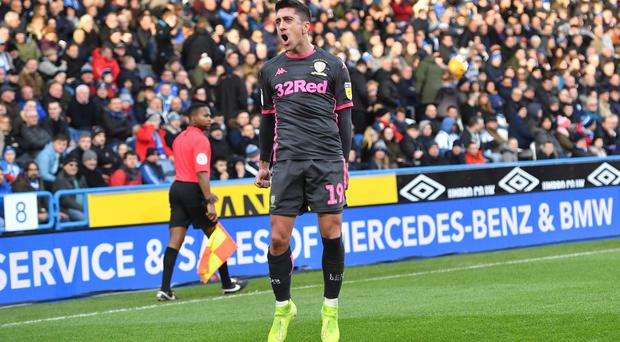 Pablo Hernandez celebrates the second goal in Leeds' 2-0 win at Huddersfield.