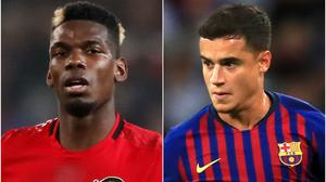 Paul Pogba, left, and Philippe Coutinho (Martin Rickett/Mike Egerton/PA)