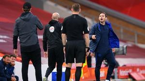Frank Lampard exchanges words with Jurgen Klopp (Laurence Griffiths/PA)