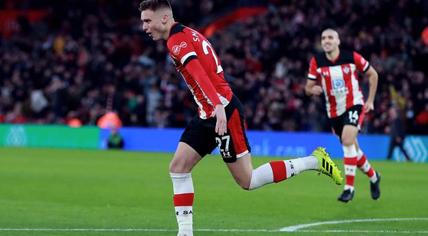 Southampton's Will Smallbone celebrates his first goal for the club as his side recorded a 2-0 win over Huddersfield (Adam Davy/PA)