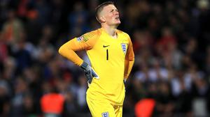 Jordan Pickford could do little to prevent Holland scoring twice after England made mistakes (Mike Egerton/PA)