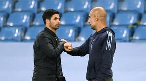 Mikel Arteta, left. will be reunited with Pep Guardiola in the FA Cup semi-final later this month (Peter Powell/NMC Pool/PA)