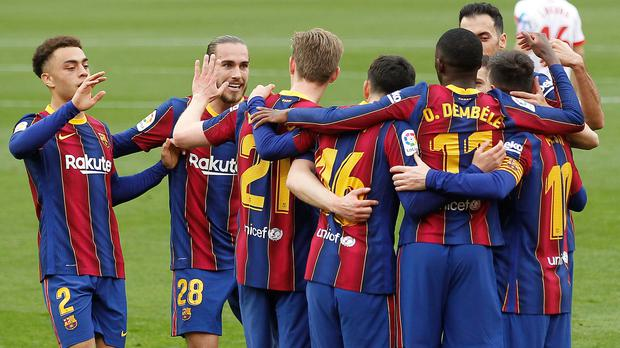 Barcelona climbed up to second in LaLiga after victory at Sevilla (Angel Fernandez/AP)