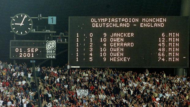 Germany had never lost a World Cup qualifier at home before England's famous victory in 2001 (Gareth Copley/PA)