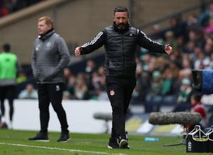 Aberdeen manager Derek McInnes' patience snapped up during his side's semi-final loss (Andrew Milligan/PA)