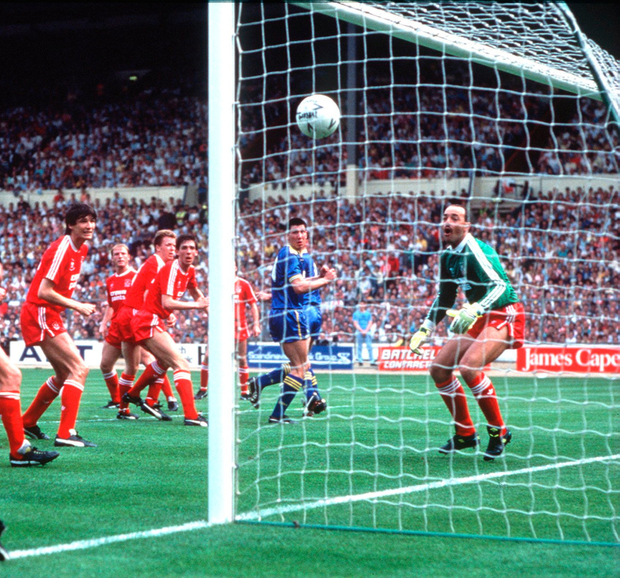 Don good: Lawrie Sanchez scores the winner for Wimbledon against Liverpool in the 1988 FA Cup final