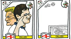 Football drawings from the 1990 World Cup that have been modified to make coronavirus memes (@CheapPanini/Twitter)