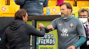 Norwich City manager Daniel Farke (left) and Southampton manager Ralph Hasenhuttl elbow bump after the Premier League match at Carrow Road, Norwich.