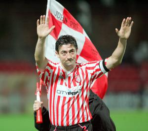 Farewell: Peter Hutton on his final Derry appearance