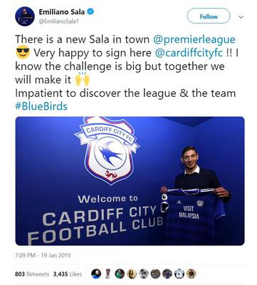 File screengrab taken from the Twitter account of a post from Emiliano Sala after he signed a three-year-deal to join Cardiff City from Nantes (PA).