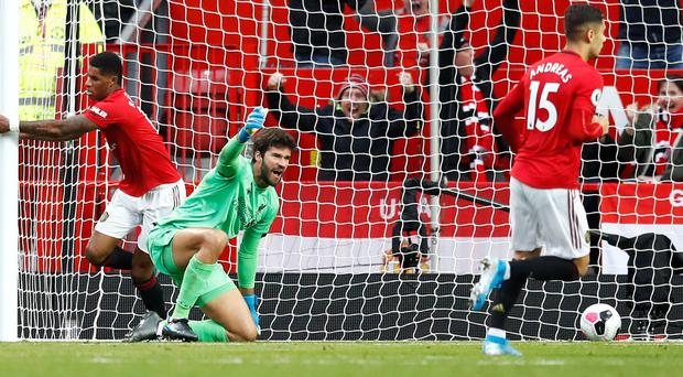 Alisson Becker is frustrated at his lack of clean sheets (Martin Rickett/PA)