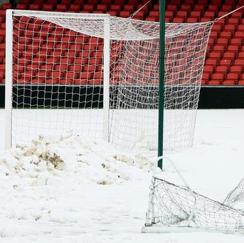 The Windsor Park pitch was still covered in snow on the Saturday morning