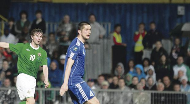 Windsor wonder: Paddy McCourt scores a stunning goal for Northern Ireland two years ago