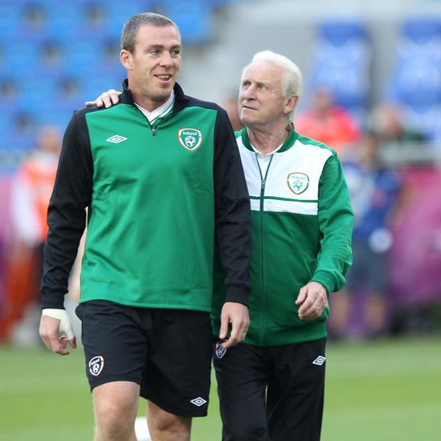 Richard Dunne, left, has not played a competitive fixture for Ireland since Euro 2012