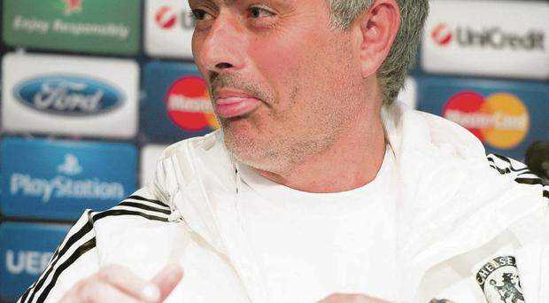 Chelsea's Portuguese manager Jose Mourinho speaks to the media during a press conference on the eve of the UEFA Champions League match between Paris Saint-Germain FC and Chelsea FC