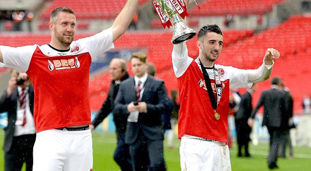 Conor McLaughlin, right, is on a high after Fleetwood's play-off win