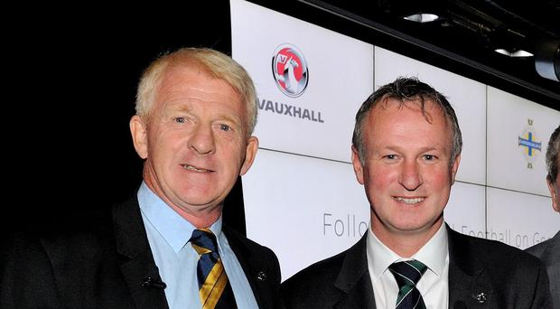 Gordon Strachan, left, and Michael O'Neill will face each other at Hampden