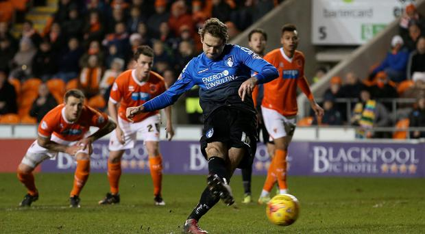 On target: Bournemouth's Brett Pitman scoring a penalty