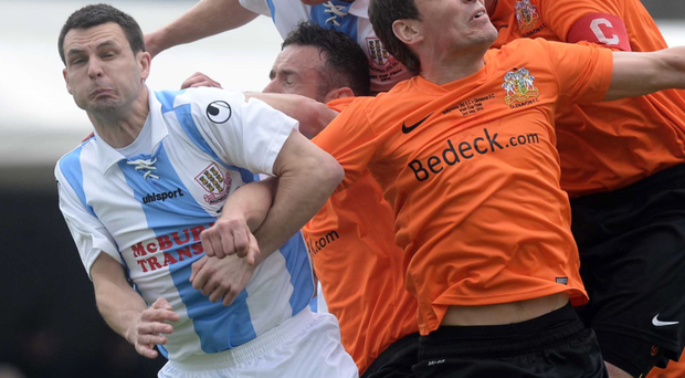 Fans favourite: Jim Ervin (left) made his comeback in the Ballymena United side in last weekend's Irish Cup tie