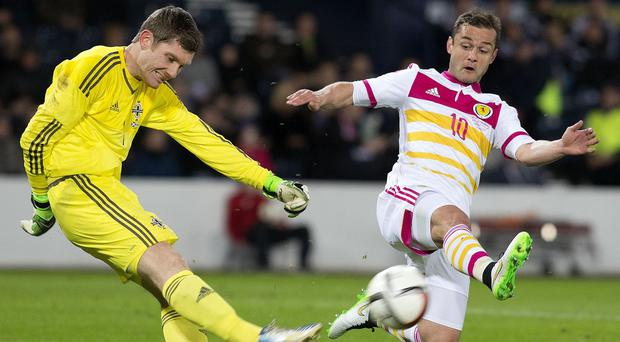 Michael McGovern, left, shone in goal for Northern Ireland in Wednesday's friendly against Scotland