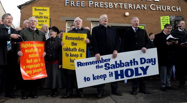 Members of the Tyndale Free Presbyterian Church protested against Northern Ireland's Sunday fixture
