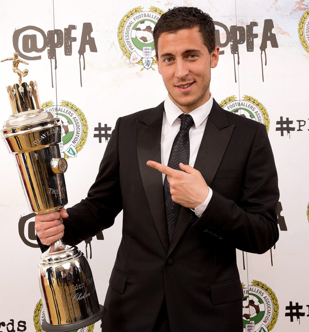 Top man: Eden Hazard with his PFA Player of of the Year award, voted by his fellow professionals